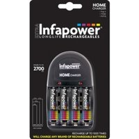 INFAPOWER Home Charger + AA 2700MAH NI-MH Rechargeable Batteries (4-Pack) C002