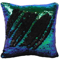 Matte Black and Green Sequin Reversible Filled Cushion