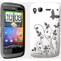 YouSave Accessories HTC Desire S Butterfly IMD Case - White-Silver