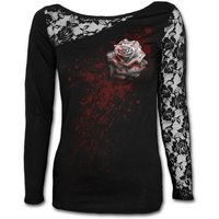 White Rose Women's Small Lace One Shoulder Top - Black
