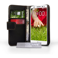 YouSave Accessories LG G2 Leather-Effect Wallet Case - Black