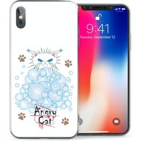 CASEFLEX APPLE IPHONE X ANGRY CAT BUBBLES CASE / COVER (3D)