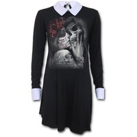 Dead Kiss Women's X-Large Peterpan Collar Baby Doll Ls Dress - Black