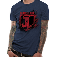 Justice League Movie - Shield Men's Medium T-Shirt - Blue