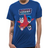 Justice League Comics - 4 Faces Men's Medium T-Shirt - Blue