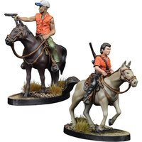 The Walking Dead All Out War Miniatures Game Maggie and Glenn on Horseback Expansion