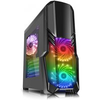 CiT G Force Black PC Gaming Case with 2 x RGB Front 1 x Rear Fans & Remote
