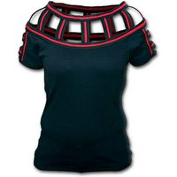 Gothic Rock Red Web Neck Cap Sleeve Women's Large Short Sleeve Top - Black