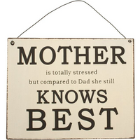 Mother Knows Best Sign