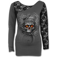 Roots of Hell Women's X-Large Long Sleeved Lace One Shoulder Top - Grey