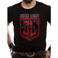 Justice League Movie - Shield Characters Men's Small T-Shirt - Black