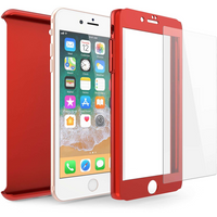 Apple iPhone 8 PC Hybrid 360 Case with Tempered Glass Screen Protector - Red