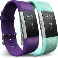 Yousave Fitbit Charge 2 Strap 2-Pack (Small) - Plum/Mint Green