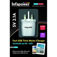 Infapower 5V 2.1A Fast USB Twin Mains Charger UK PLug