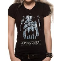 Supernatural - Group Outline Female's Large Fitted T-Shirt - Black