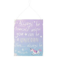 Purple/Blue Unicorn Metal Sign