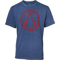 Assassin's Creed - Crest Logo Faux Denim Men's Large T-Shirt - Blue