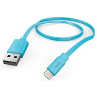 Hama Flat Charging/Data Cable, Lightning, 1.2 m, blue