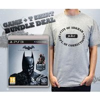Batman Arkham Origins (with DLC) Game & Department of Corrections Grey T-Shirt Large