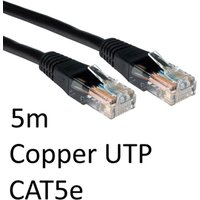 RJ45 (M) to RJ45 (M) CAT5e 5m Black OEM Moulded Boot Copper UTP Network Cable