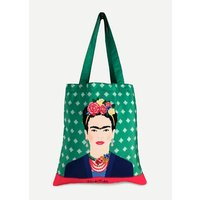 Frida Kahlo Green Vogue Tote Bag
