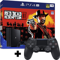 PlayStation 4 Pro (1TB) Black Console with Red Dead Redemption 2 + Extra Dualshock