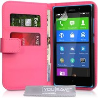 YouSave Nokia XL Leather-Effect Wallet Case - Hot Pink