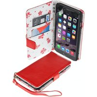 Caseflex iPhone 6 Plus / 6s Plus PU Leather Wallet Case Red/Floral Lining