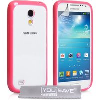 YouSave Accessories Samsung Galaxy S4 Mini TPU and PC Case - Hot Pink-Clear