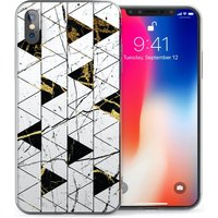 CASEFLEX APPLE IPHONE X WHITE MARBLE TRIANGLES CASE / COVER (3D)
