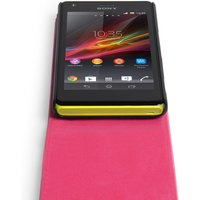 YouSave Accessories Sony Xperia M Leather-Effect Flip Case - Hot Pink