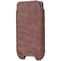 SOX Western Genuine Leather Hand Made Mobile Phone Pouch for iPhone/Samsung and more, Large, Dark Brown (SOX KWES 01 L)