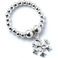 Snowflake Charm with Sterling Silver Ball Bead Ring