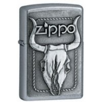 Zippo Bull Skull Emblem Street Chrome Windproof Lighter