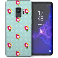 CASEFLEX SAMSUNG GALAXY S9 DAINTY DOTS & FLOWERS MINT GREEN/PINK CASE / COVER (3D)