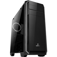 Game Max Carbon Mid Tower 1 x USB 3.0 / 2 x USB 2.0 Side Window Panel Black Case with White LED Fan
