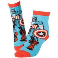 Marvel Comics Captain America Adult Male Super Soldier & Shield Crew Socks 43/46 (Blue)