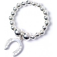 Sterling Silver Ball Bead Toe Ring with Lucky Horseshoe Charm