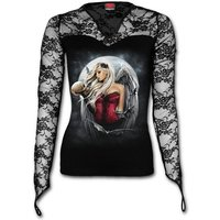 Angel of Death Sorrow Women's Small Lace Neck Long Sleeve Goth Top - Black