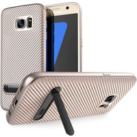 Samsung Galaxy S7 Carbon Fibre Textured Gel Case with Kickstand - Rose Gold
