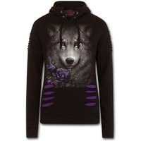 Wolf Roses Large Hood Ripped Women's Large Hoodie - Black