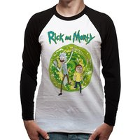 Rick And Morty - Portal Men's Large Long Sleeved Baseball T-Shirt - White