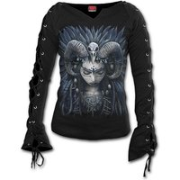 Raven Queen Women's Small Laceup Sleeve Top - Black