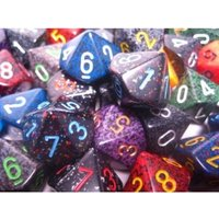 Chessex Polyhedral D10 Dice: Bag of 50 Assorted - Speckled