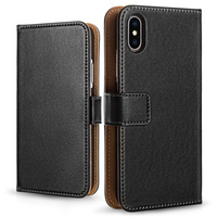Apple iPhone X Leather Wallet Case - Black (Retail Box)