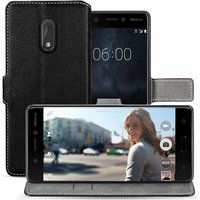 Nokia 6 PU Leather Slim Wallet Stand Case - Black