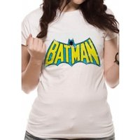 Batman Retro Logo DC Essentials Range Womens X-Large T-Shirt - White