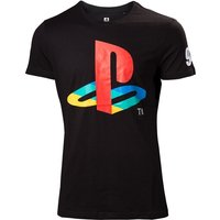 Sony PlayStation Men's Classic Logo and Colours Unisex XX-Large T-Shirt - Black