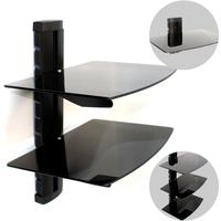 Tempered Black Glass Floating Shelf Wall Mount Consoles/DVD players M&W 1 Tier