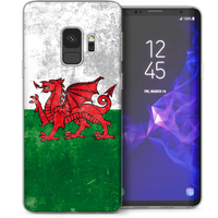 CASEFLEX SAMSUNG GALAXY S9 PLUS RETRO WALES FLAG CASE / COVER (3D)